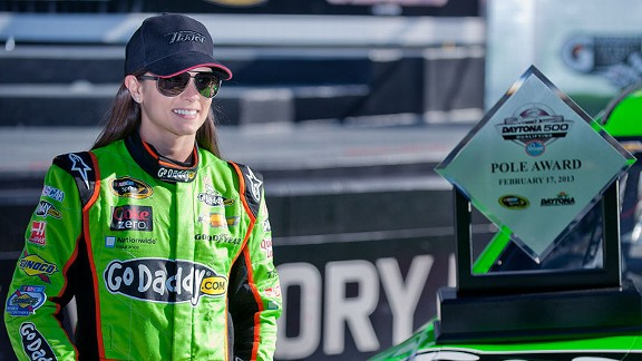 Danica Patrick's first full season at NASCAR's highest level started in spectacular fashion as she became the first woman to win a Sprint Cup pole.