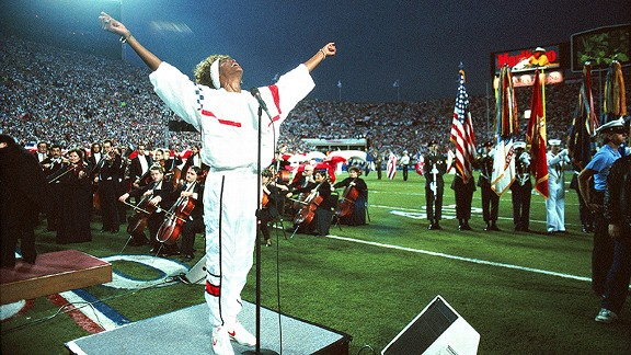 Whitney Houston singing the National Anthem at Tampa Stadium and the Super Bowl