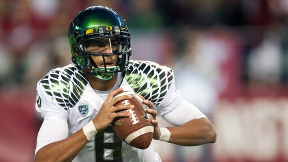 Oregon quarterbackc Marcus Mariota has a rating of 179.0 through three games this season.