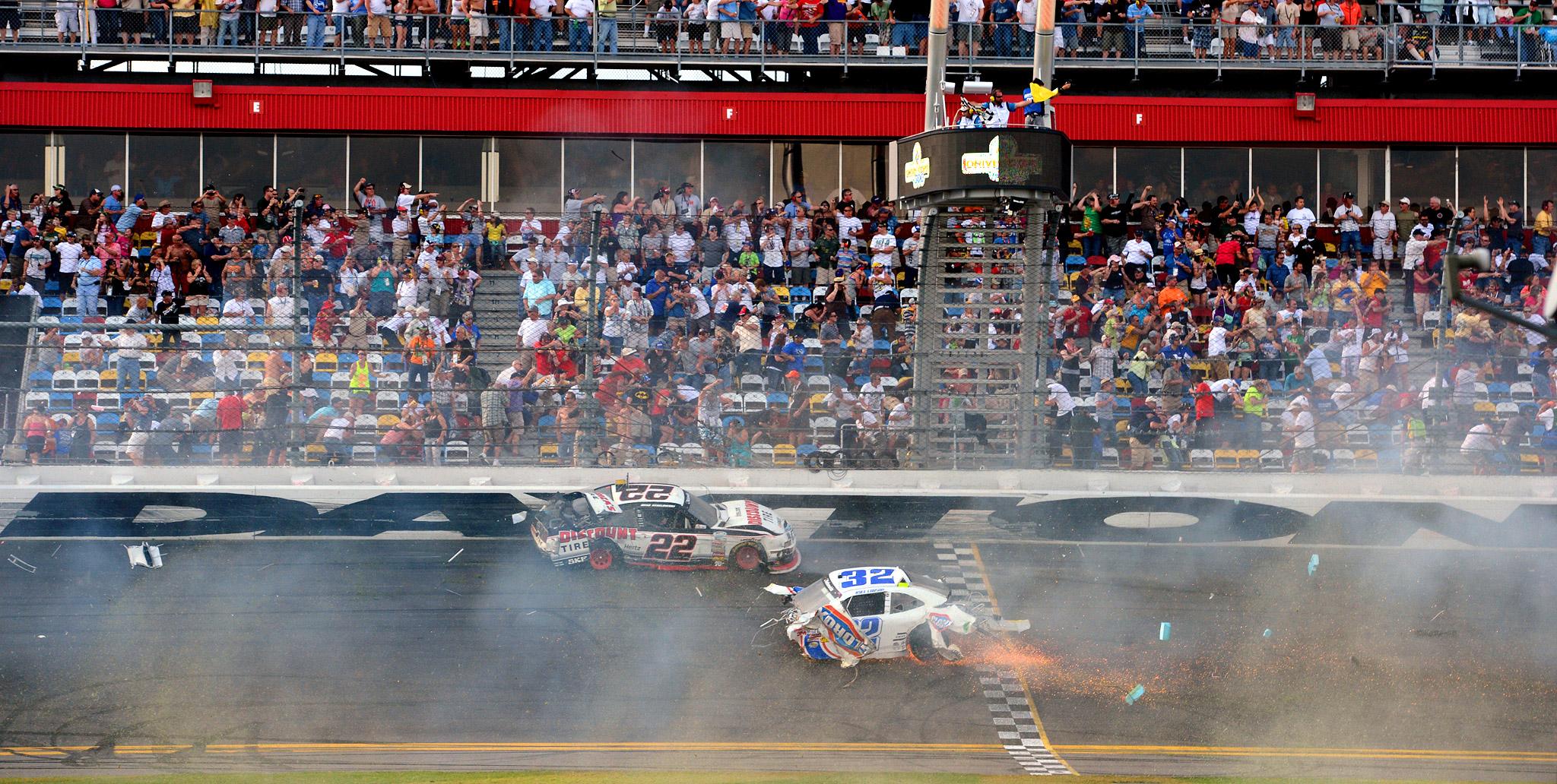 Kyle Larson's car crosses the finish line