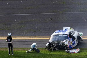Kyle Larson walked away from his destroyed Chevrolet after the last-lap big one at Daytona.