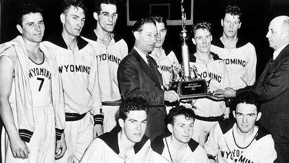 Kenny Sailors (right of trophy) led Wyoming to a national championship in 1943.