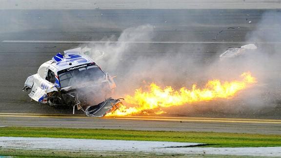 The Kyle Larson crash at the NASCAR Nationwide Daytona International Speedway race