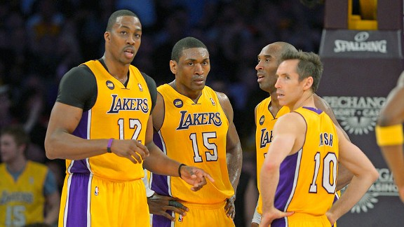 Dwight Howard, Metta World, Kobe Bryant, Steve Nash