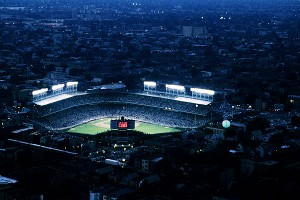 Wrigley Field in 1988, when they first turned on the lights -- at the first night game for the Chicago Cubs