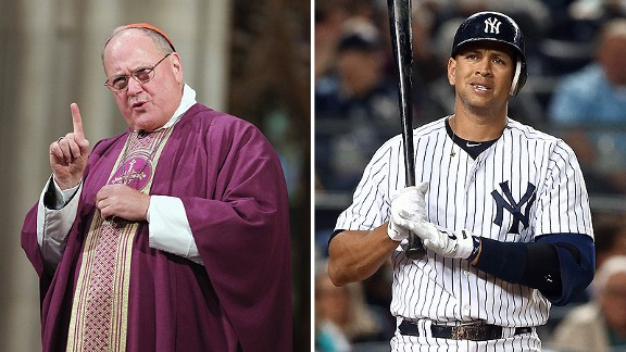 Cardinal Timothy Dolan and Alex Rodriguez