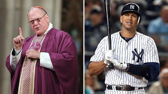 Cardinal Timothy Dolan and Alex Rodriguez