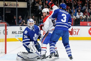 Dion Phaneuf and Brandon Prust