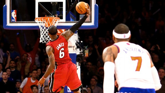 LeBron James of the Miami Heat and Carmelo Anthony of the New York Knicks