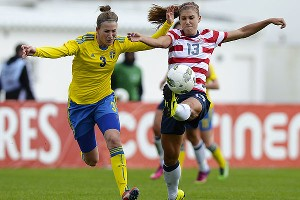 Alex Morgan, right, spurred a U.S. rally to tie Sweden and earn a place in the Algarve Cup final for the 10th time in 11 years.