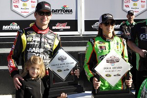 Ella Gordon posed with her father Jeff and Danica Patrick after Daytona pole qualifying, but she couldn't wait to have her picture snapped with Danica alone.