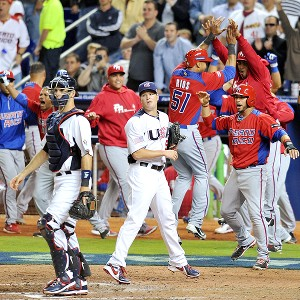 Puerto Rico celebrates during a game against the USA in the World Baseball Classic