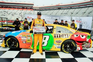 Kyle Busch won his first career pole at Bristol Motor Speedway with a track record qualifying lap.
