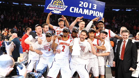 Louisville Cardinals celebration for winning the Big East tournament