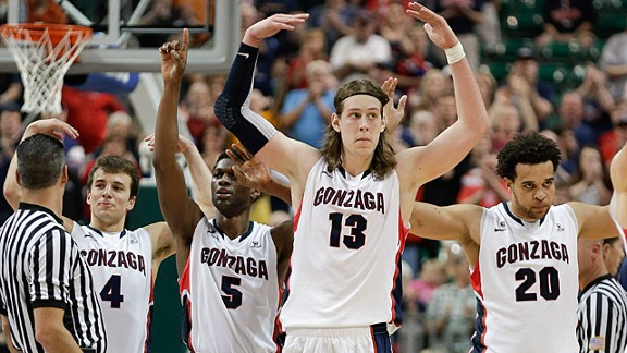 Gonzaga players from left, Kevin Pangos (4), Gary Bell Jr. (5), Kelly Olynyk (13) and Elias Harris (20)