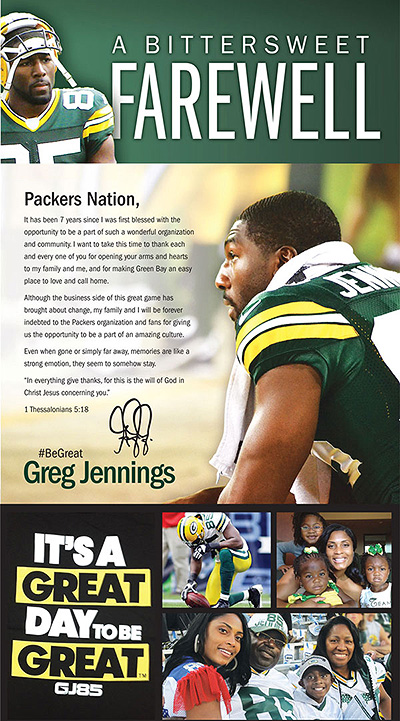 Jennings thanks Packers fans in full-page ad
