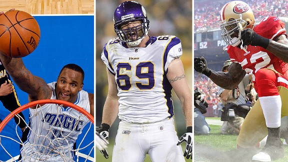 Glen Davis, Jared Allen, and Patrick Willis