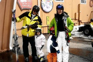 Mike Greenberg and his daughter Nikki pose with Heidi Armitage and her son Walker during a  2004 ski vacation in Aspen.