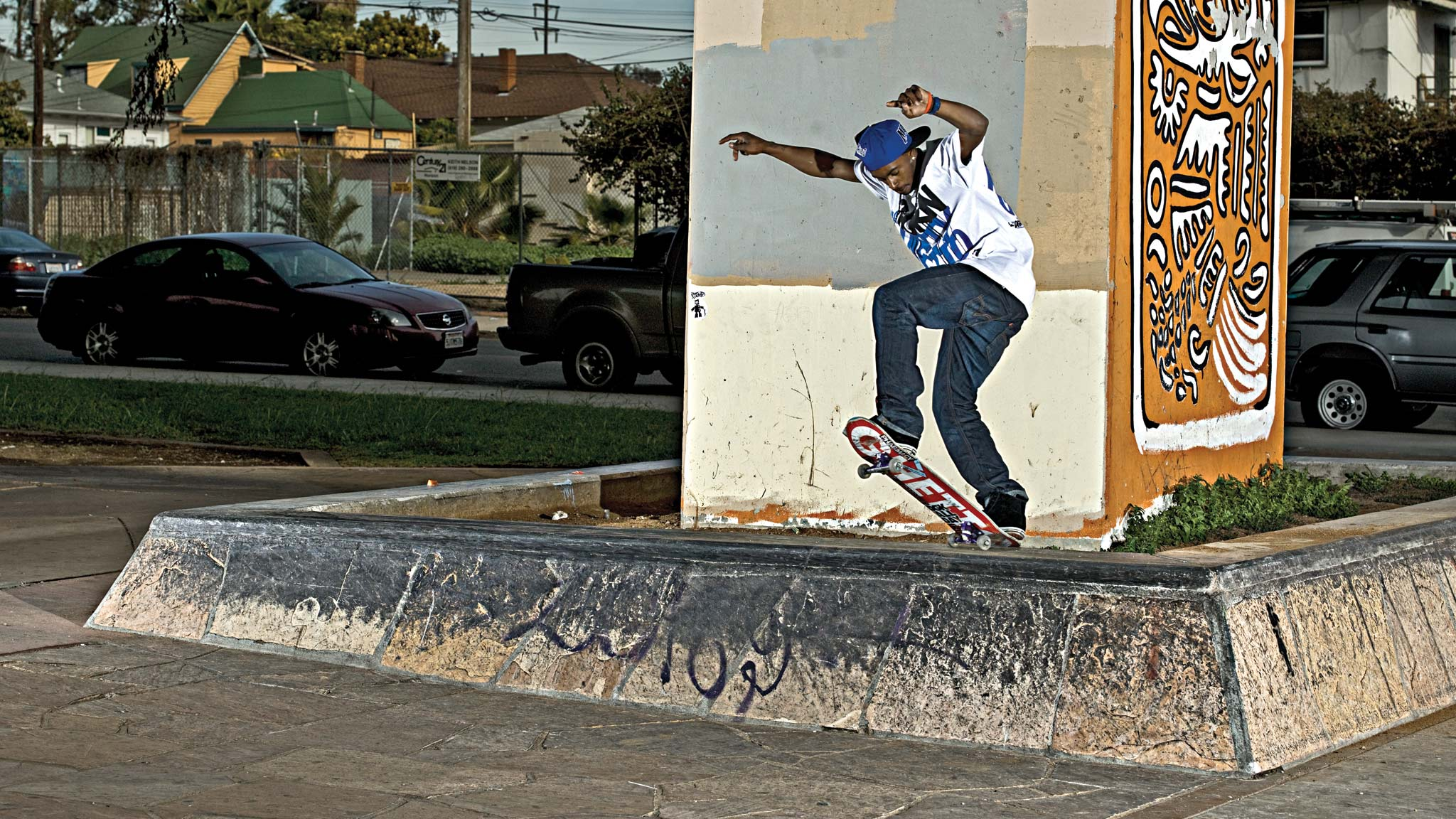Keelan Dadd front blunts on the inside of the ledge and recently turned pro for DGK Skateboards.