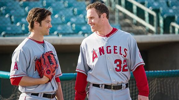 The Los Angeles Angels of Anaheim's CJ Wilson and Josh Hamilton
