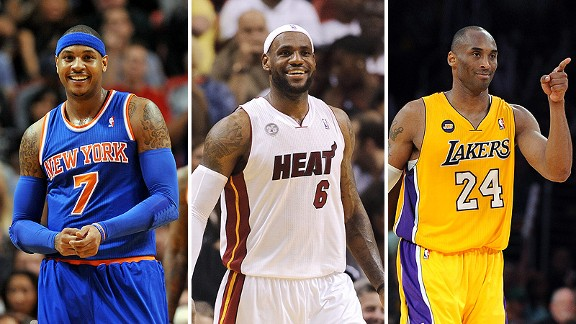 Carmelo Anthony, LeBron James, and Kobe Bryant