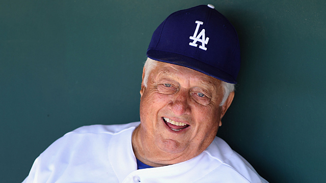 Former manager Tommy Lasorda of the Los Angeles Dodgers