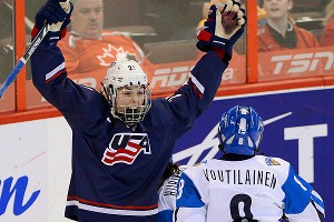 Hilary Knight celebrates her goal for the United States, which faces Canada in Tuesday's championship game.