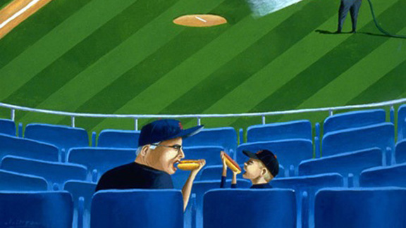 Mark Ulriksen painting about baseball