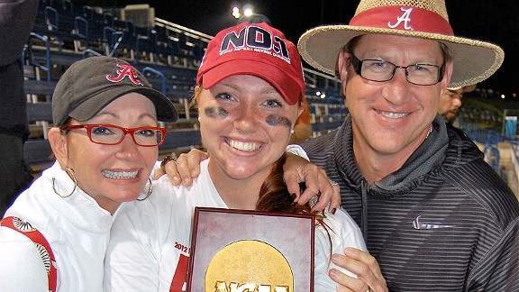 Parents Sarah and David Patterson have led Alabama gymnastics to six national titles; Jordan has won one with the softball squad.