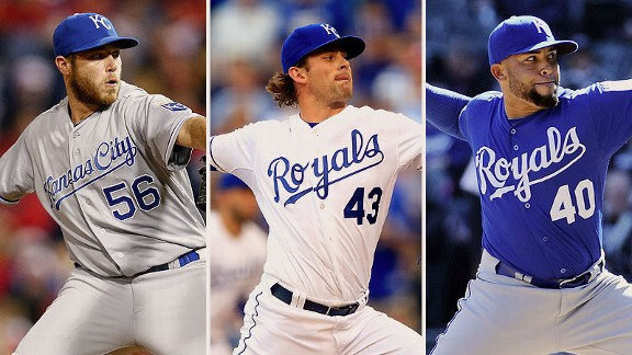 Greg Holland, Aaron Crow, and Kelvin Herrera
