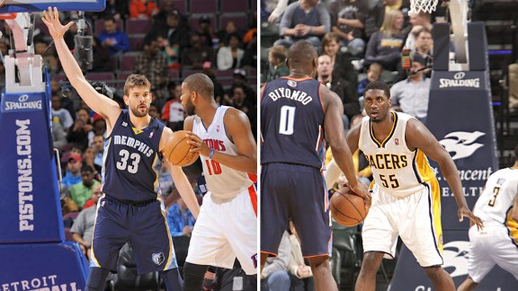 Marc Gasol and Roy Hibbert