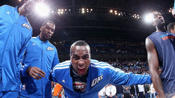Serge Ibaka with the Oklahoma City Thunder