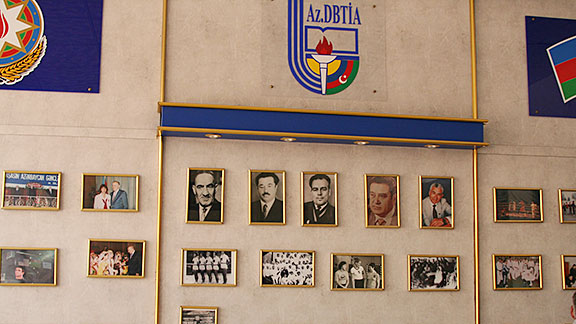 The entrance hallway at Baku's Physical Education and Sports Academy is lined with former champions.