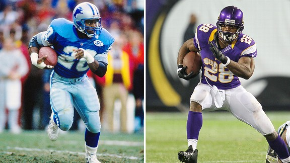 Barry Sanders and Adrian Peterson