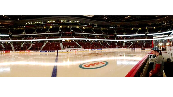 My teammate Rigs (Alex Rigsby) snapped this panoramic shot before our first game against Canada. I like to take a few minutes after off-ice warm-ups to sit, listen to music, think and relax before I get dressed in my equipment.