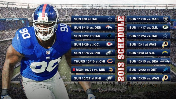 NY Giants 2013 Schedule