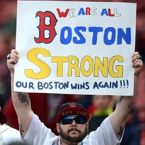 Boston Strong held by a fan