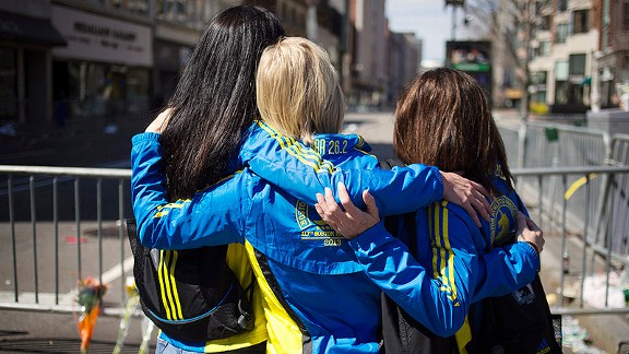 Boston Marathon embrace