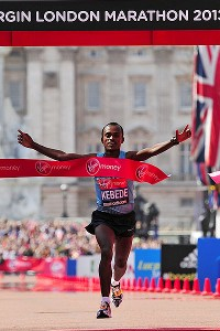 Ethiopia's Tsegaye Kebede clocked 2 hours, 6 minutes and 15 seconds Sunday to emulate his 2010 triumph in London.