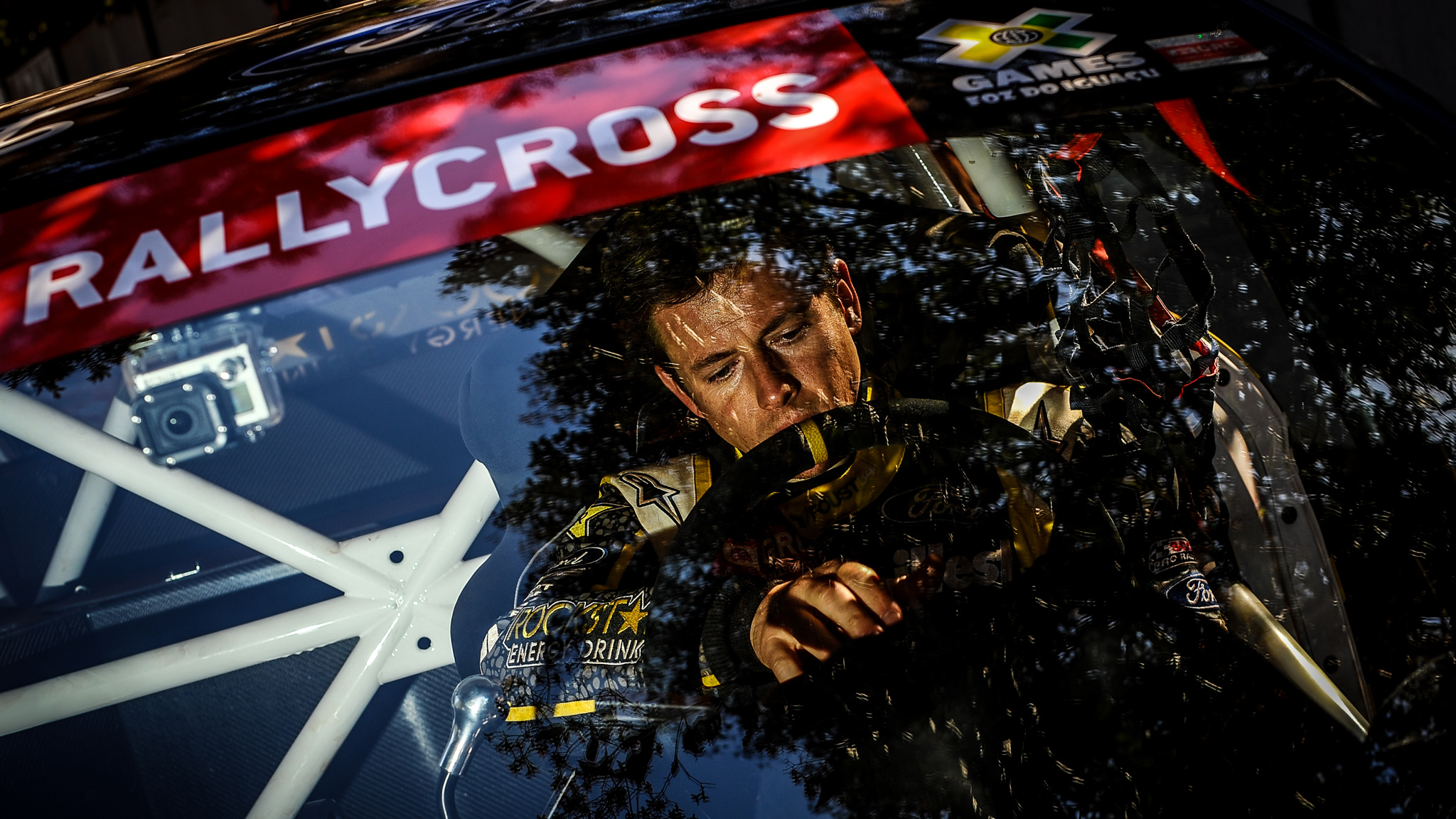 Foust gets ready to rip during the Ford RallyCross Seeding at X Games Foz Do Iguau 2013.