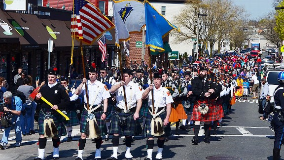 Bagpipe parade for Martin Richard