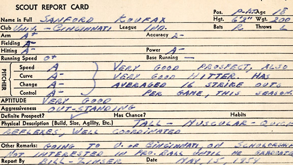 Sandy Koufax Scouting Report