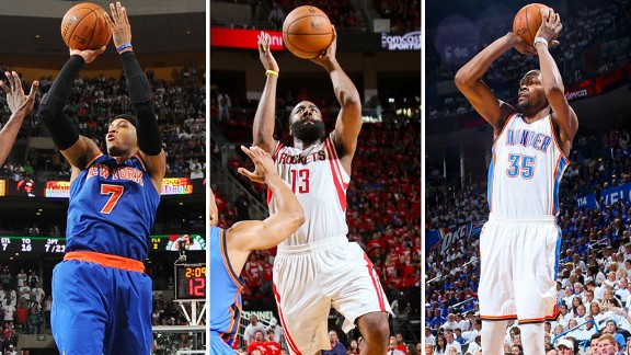 Carmelo Anthony, James Harden, Kevin Durant