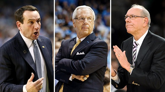 Mike Krzyzewski, Roy Williams and Jim Boe