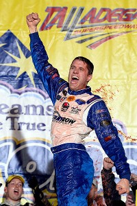 David Ragan celebrates in Victory Lane after winning the Sprint Cup race at Talladega.