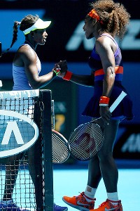 Sloane Stephens and Serena Williams exchanged greetings after their match at the Australian Open.