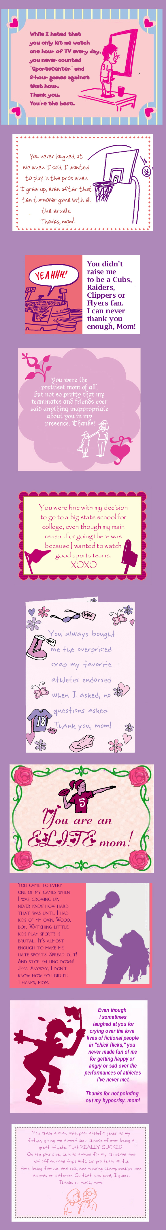 Playbook Mother's Day sports-themed cards