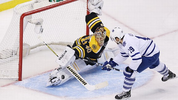Tuukka Rask of the Boston Bruins and Joffrey Lupul of the Toronto Maple Leafs