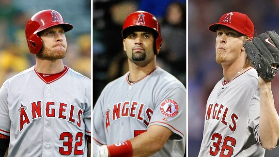 Josh Hamilton, Albert Pujols and Jered Weaver