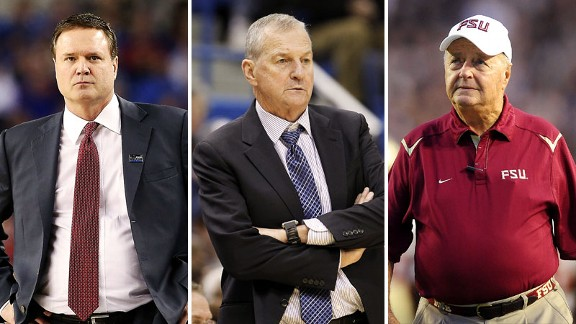 Bill Self, Jim Calhoun, Bobby Bowden 